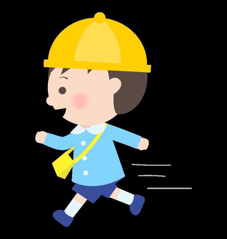 走っている幼稚園児のイラスト