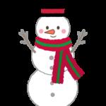 シルクハットをかぶった雪だるまのイラスト