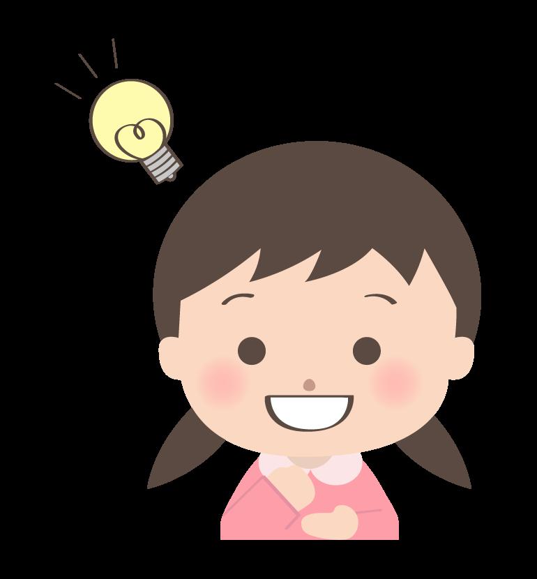 閃いた幼稚園児のイラスト