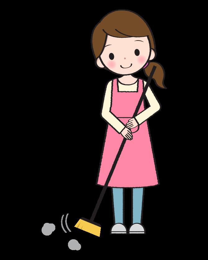 ほうきで掃き掃除をする主婦のイラスト