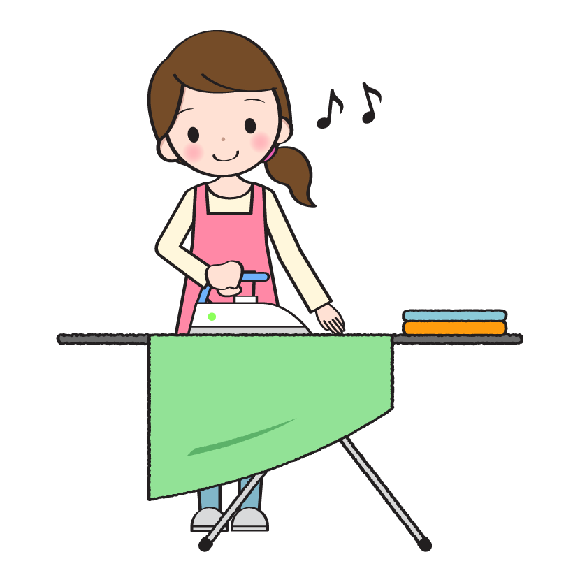 アイロンがけをする主婦のイラスト