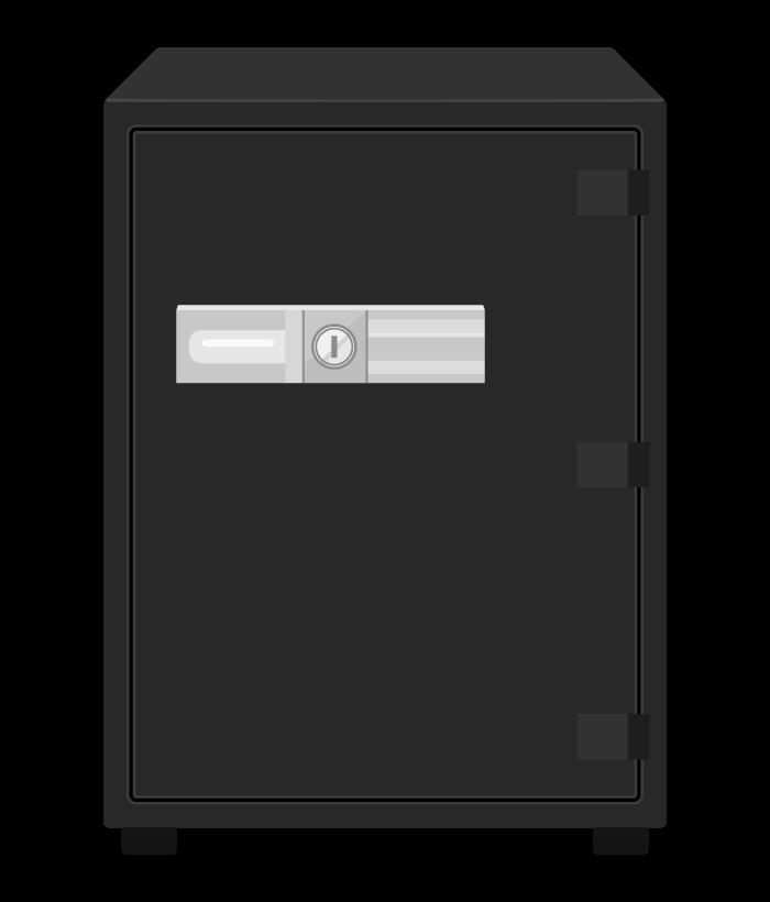 大きな黒い金庫のイラスト