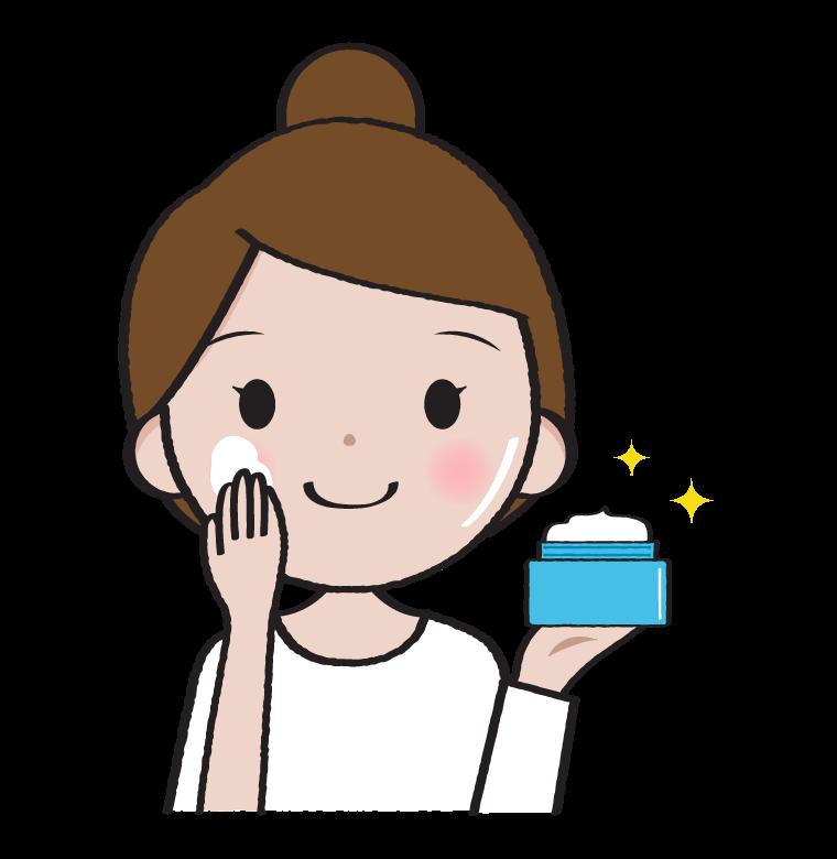 美容クリームを塗る女性のイラスト