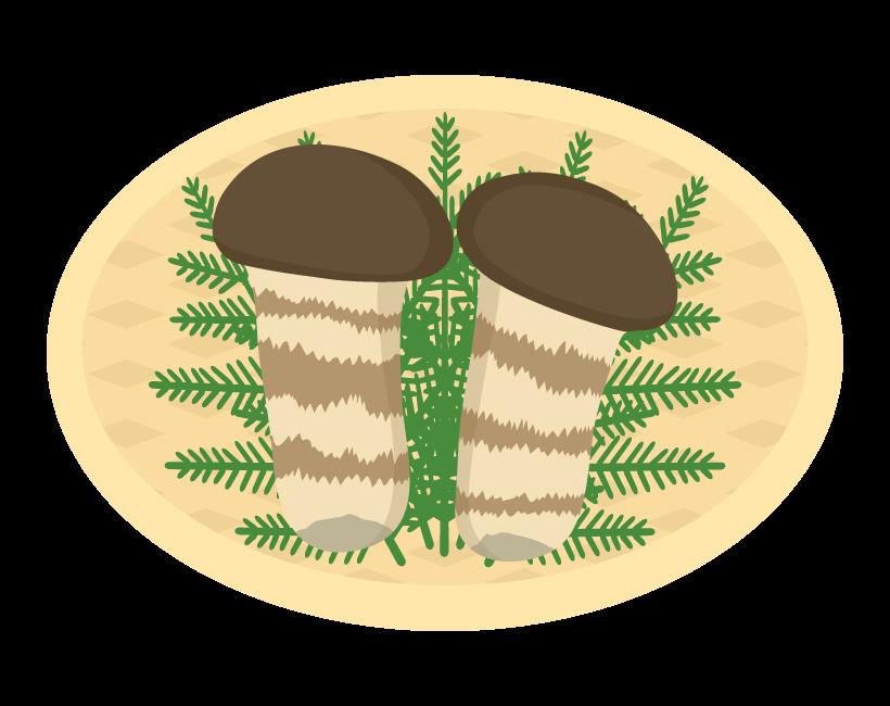 かご盛りの松茸のイラスト