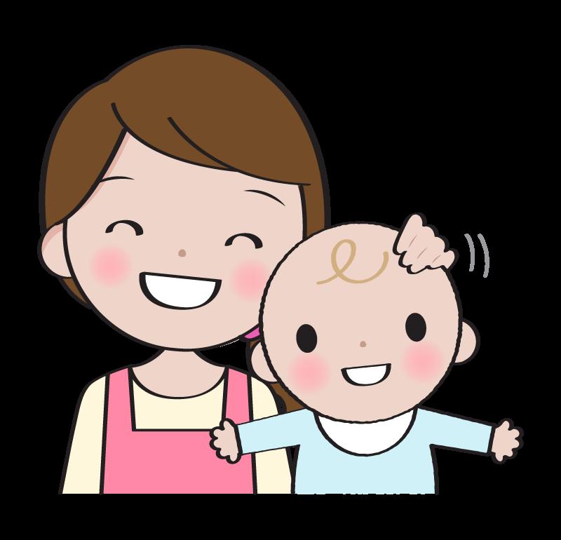 笑顔のお母さんと赤ちゃんのイラスト