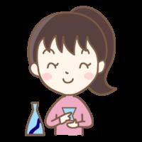 日本酒と女性のイラスト
