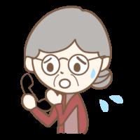 かかってきた電話に慌てるおばあさんのイラスト