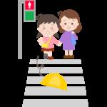 横断歩道で帽子が飛んでしまった幼稚園児のイラスト