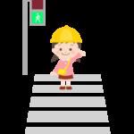 横断歩道を渡っている幼稚園児のイラスト