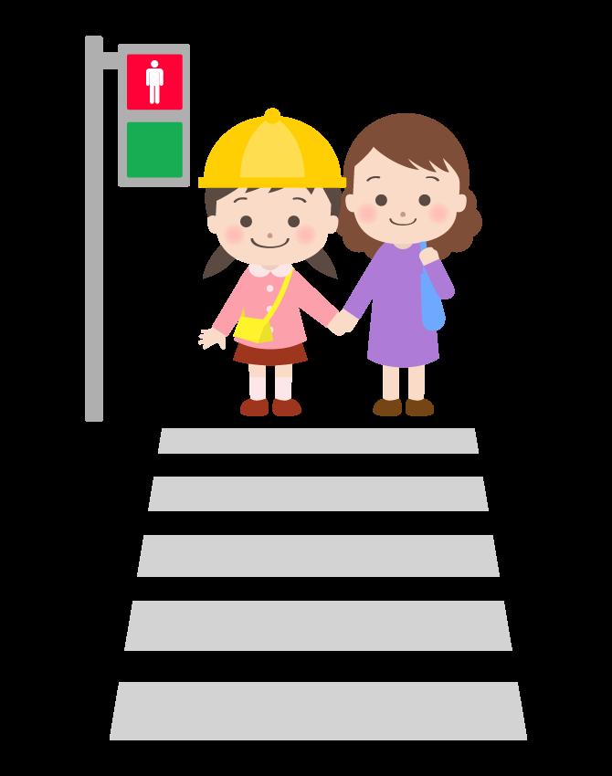 信号待ちをしているお母さんと幼稚園児のイラスト