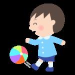 ボールを蹴って遊ぶ幼稚園児のイラスト