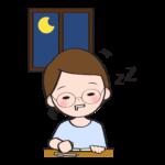 書きながら寝落ちている小説家のイラスト