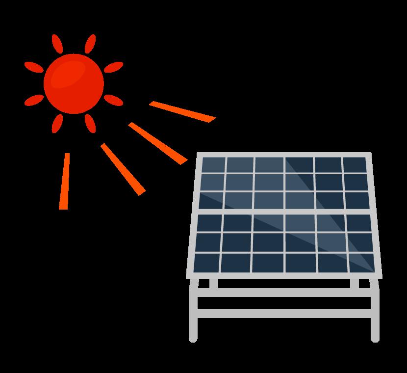 太陽とソーラーパネルのイラスト