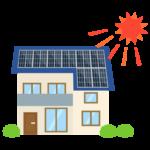 屋根に設置されたソーラーパネルのイラスト