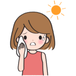 炎天下で汗をかく女性のイラスト