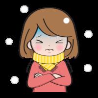 寒がっている女性のイラスト