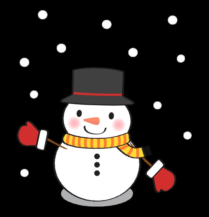 シルクハットの雪だるまのイラスト