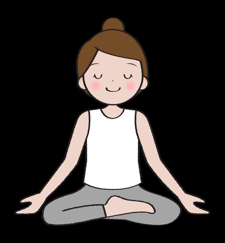 ヨガ・瞑想をする女性のイラスト