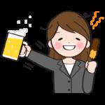 ビールを飲んで酔っ払っている女性会社員のイラスト