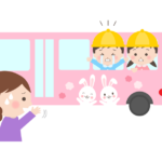 泣きながら幼稚園バスに乗っている幼稚園児のイラスト