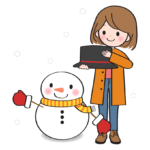 雪だるまを作っている女性のイラスト