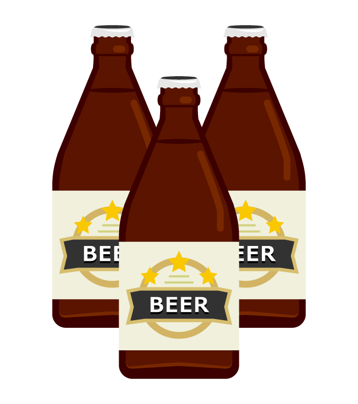 瓶ビール(3本)のイラスト