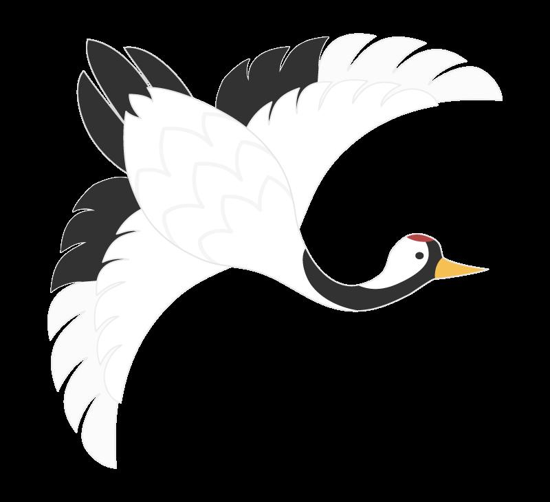 羽ばたいている鶴のイラスト