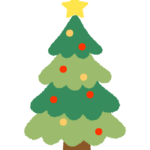 星が付いたかわいいクリスマスツリーのイラスト
