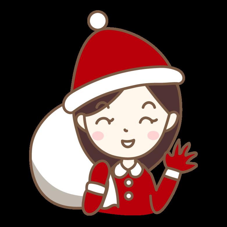 サンタの格好をした笑顔の女性のイラスト