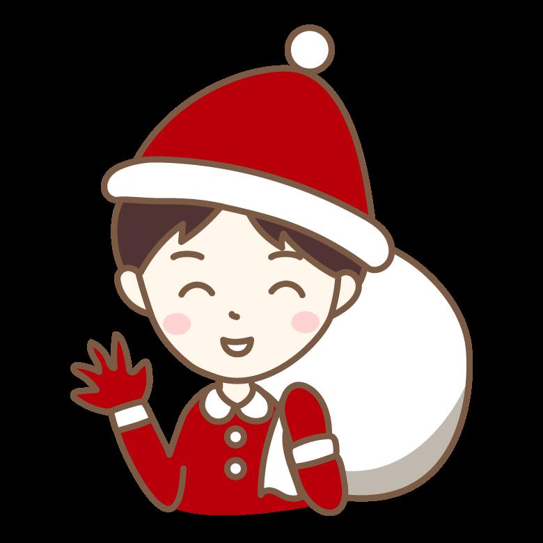 サンタの格好をした笑顔の男性のイラスト