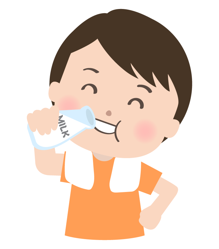 お風呂あがりにミルクを飲んでいる人のイラスト