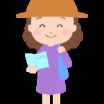 ガイドブックを持っている女性のイラスト
