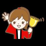 鐘を鳴らしているハッピを着た女性店員のイラスト