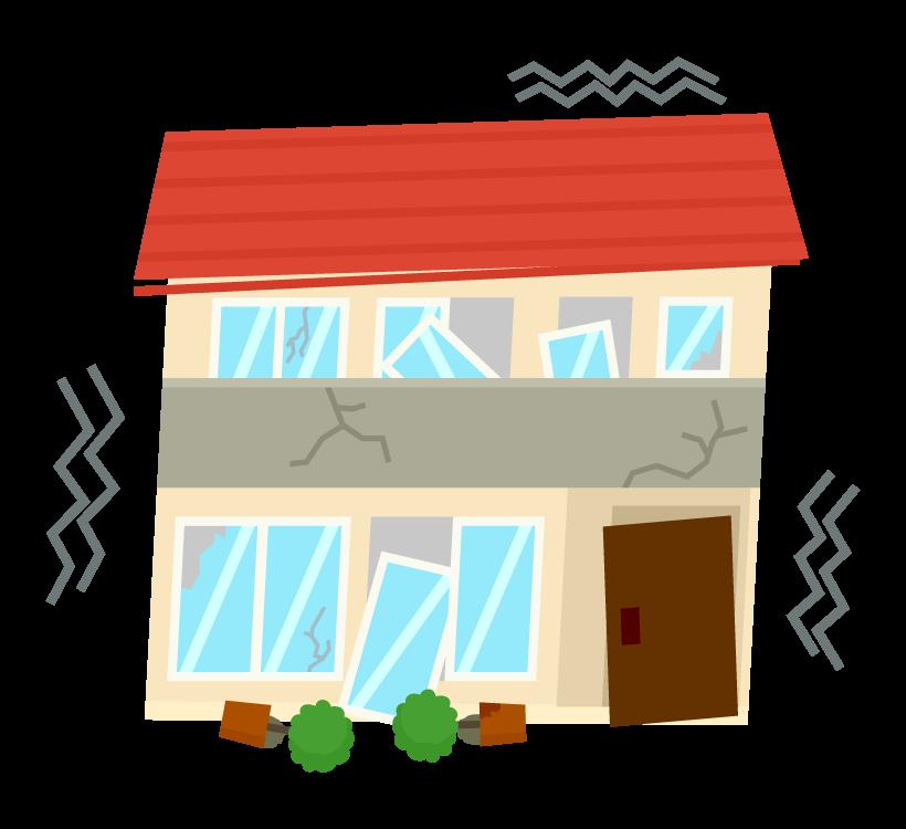 地震で倒壊した家のイラスト
