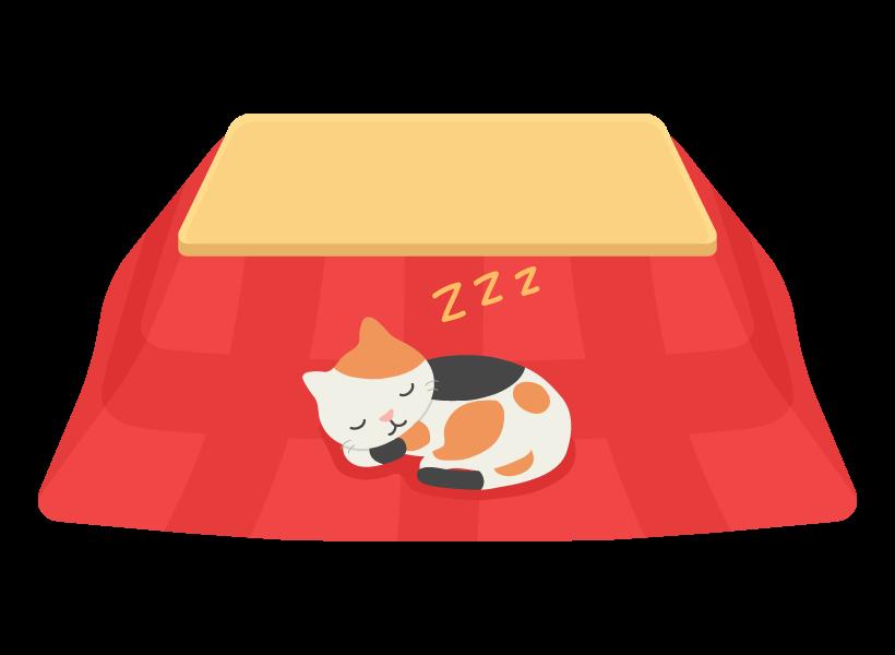 こたつで寝ている猫のイラスト