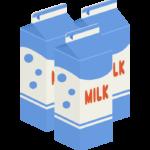 1リットルの牛乳パック(3本)のイラスト