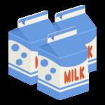 500mLの牛乳パック(3本)のイラスト