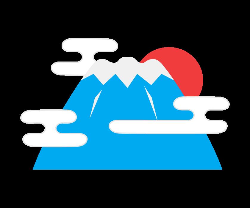 和風の雲と富士山のイラスト