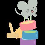 だるま落としをするネズミのイラスト