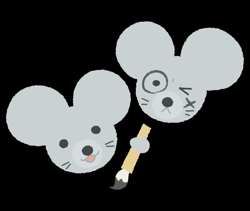 顔に墨を塗るネズミのイラスト