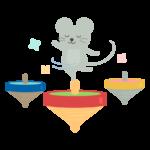 コマの上に乗るネズミのイラスト