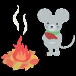 焼き芋とネズミのイラスト
