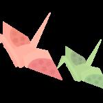 折り鶴(二羽)のイラスト