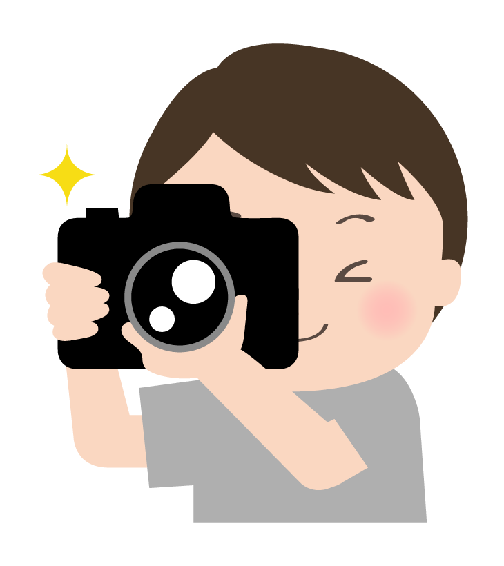 写真を撮っている人のイラス