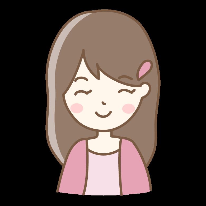 ニッコリ笑顔の女性のイラスト
