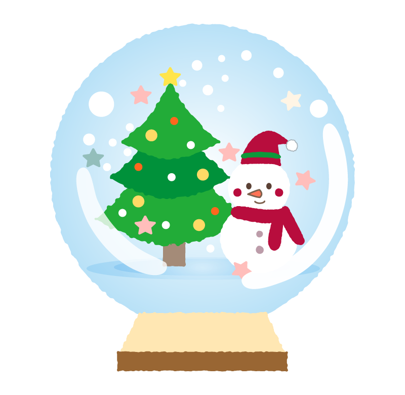 ツリーと雪だるまのスノードームのイラスト