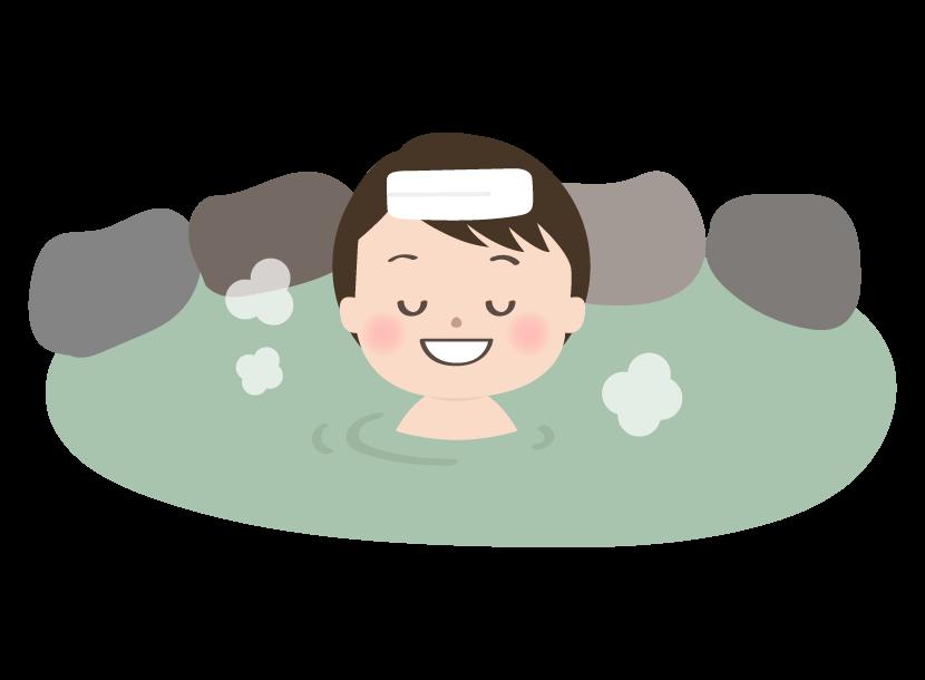 温泉に入っている人のイラスト
