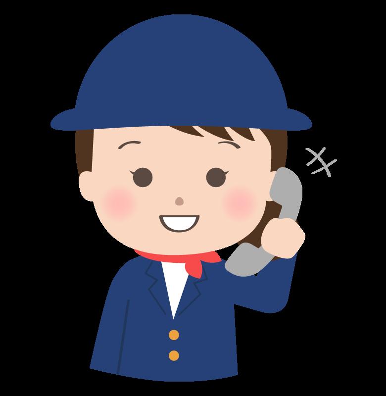 電話をしているツアーガイドさんのイラスト