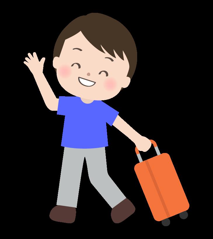 スーツケースを引いている男性のイラスト