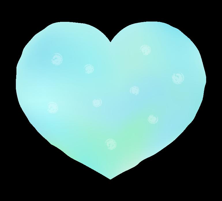 かわいい水色のグラデーションのハートのイラスト
